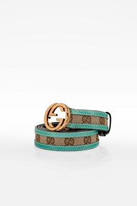Gucci Beige GG Canvas and Light Blue Leather Belt