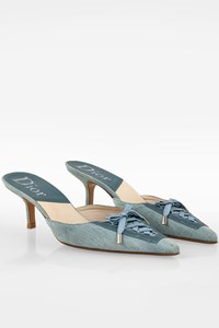 Dior Blue Denim Pointed Mules / Size: 40 C - Fit:39.5