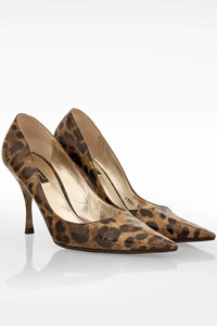 Dolce & Gabbana Leopard Print Pointed Patent Leather Pumps / Size: 39.5 - Fit: 39.5 (Tight)