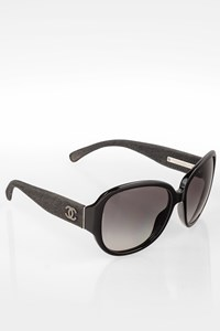 Chanel Black 5163 Acetate Sunglasses with Denim Arms