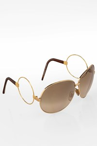 D&G Gold Tone Metal Sunglasses with Decorated Arms
