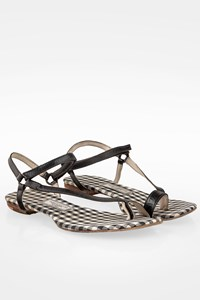 Vassilis Zoulias Black Leather Sandals with Check Print Inslole / Size: 36 - Fit: True to size