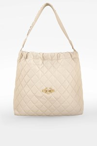 Love Moschino Ecru Quilted Leather Shoulder Bag