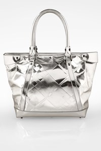 Burberry Silver Metallic Patent Leather Tote Bag