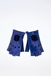 Sermoneta Electric Blue Perforated Driving Leather Gloves