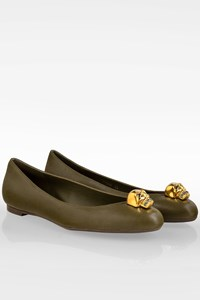 Alexander McQueen Olive Green Leather Skull City Ballet Flats / Size: 38 - Fit: True to size