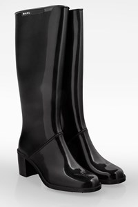 Marc Jacobs Black Rubber High Heel Rain Boots / Size: 39 - Fit: True to size