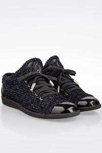 Chanel Blue - Black Tweed Lace-Up Sneakers / Size: 38 - Fit: 38.5