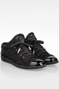 Chanel Black Tweed Lace-Up Sneakers / Size: 38 - Fit: 38.5