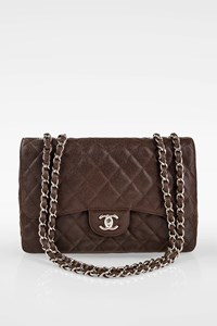 Chanel Chocolate Brown Quilted Caviar Leather Jumbo Classic Single Flap Bag