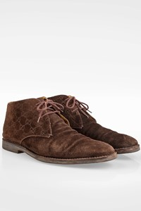 Gucci Brown GG-Embossed Suede Lace-up Boots / Size: 43.5  - Fit: True to size