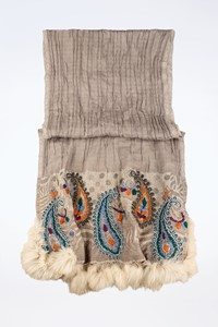 Marc Barell Grey Shawl with Knitted Embroidery and Fur