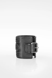 Yves Saint Laurent Black Leather Cuff with Braided Details