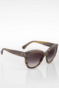 Chanel 5332 Brown Acetate Tweed Effect Polarized Butterfly Sunglasses