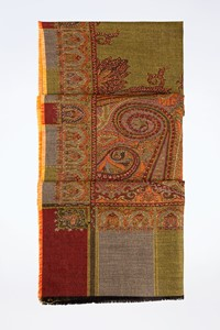 No Brand Multicoloured Wool Scarf with Paisley Design