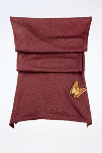 Chloé Burgundy Lightweight Scarf with Embroidered Butterfly