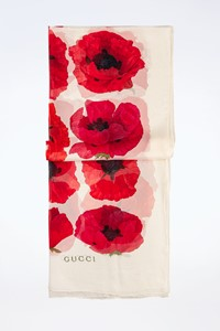 Gucci Ecru Scarf with Red Flowers
