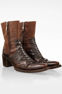 Cesare Paciotti Brown Leather Cowboy Boots with Snakeskin Details / Size: 38 - Fit: 38.5