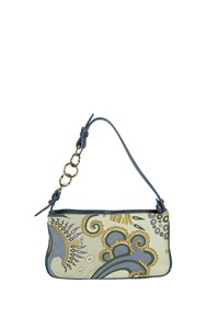 Emilio Pucci Blue Hued Printed Leather Shoulder Bag