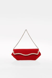 Tod's Red Crystal-Embellished Satin Evening Bag