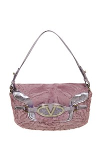 Valentino Lilac Astrakhan and Leather Pochette