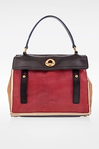 YSL Tricolour Muse-Two Leather and Canvas Tote Bag