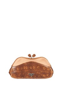 Prada Salmon Lizard and Satin Clutch