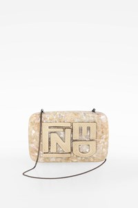 Fendi Mother-of-Pearl Clutch with Python Details