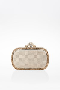 Bottega Veneta Perforated Snakeskin Τop Κnot Clutch