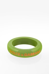 Dolce & Gabbana Green Bangle with Orange Signature Logo