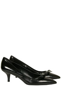 Prada Black Leather Bow-Embellished Pumps