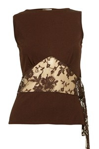 Valentino Brown Knitted Top with Lace Panel