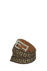 Fendi Brown Logo Belt with Silver Buckle