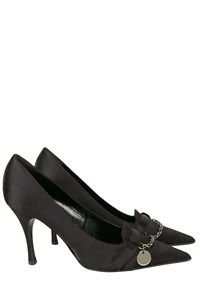 Gucci Black Pointed Pumps with Charms