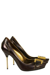 Giuseppe Zanotti Nearly Black Buckled Pumps