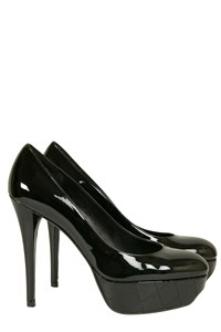 Stuart Weitzman Galaxy Black Patent Leather Platform Pumps