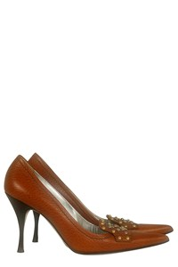 Dolce & Gabbana Tan Studded Pointed Pumps