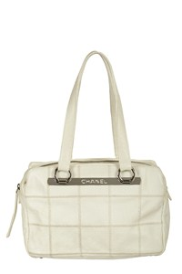 Chanel Small White Leather Tote Bag