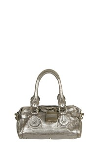 Chloe Mini Paddington Metallic Silver Satchel Bag
