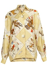Hermès Silk Foulard Shirt with Polo Players Print