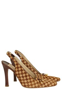 Louis Vuitton Damier Ponyskin Slingbacks