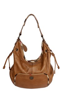 Burberry Tobacco Leather Shoulder Bag with Check Details