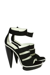 Balenciaga Black and White Suede Platform Sandals