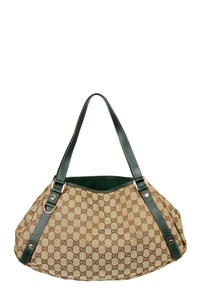 Gucci Logo Canvas and Leather Shoulder Bag