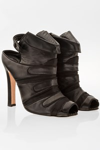 Manolo Blahnik Black Leather Peep-Toe Booties