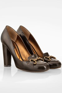 Dolce & Gabbana Charcoal Grey Pumps with Bronze Buckle / Size: 40 - Fit: 40.5