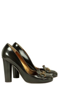 Dolce & Gabbana Charcoal Grey Pumps with Bronze Buckle
