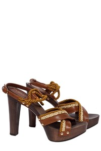 Sergio Rossi Leather and Wood Clog Sandals