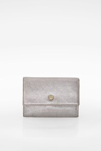 Anya Hindmarch Metallic Silver Leather Flap Wallet