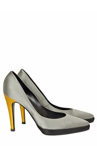 Pierre Hardy Silver Satin Pumps with Yellow Detail